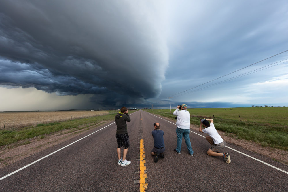 Storm Chaser photographing a passing supercell
